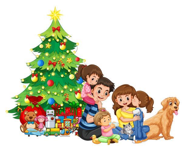 En familjesamling på jul vektor