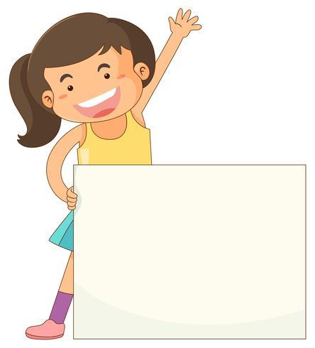 Fahnenschablone mit glücklichem Mädchen vektor
