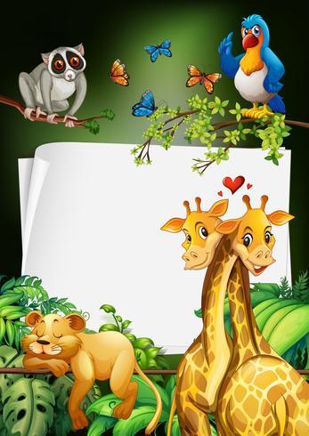Papper design med vilda djur bakgrund vektor
