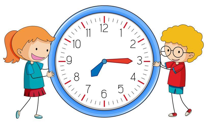 Doodle pojke och flicka med klocka vektor