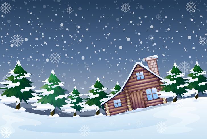 Ett vinterlandskap på natten vektor