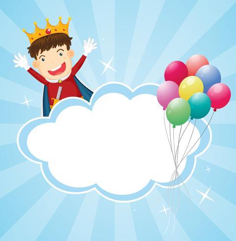 Ett brevpapper med en kung och ballonger vektor