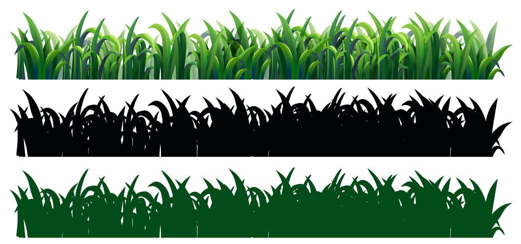 Sömlöst gräs i tre stilar vektor