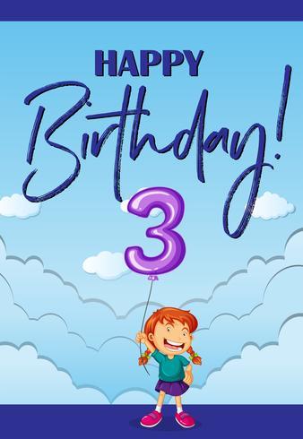 Grattis på födelsedagskortet i tre år vektor