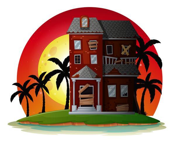 Förstört hus på ön vektor
