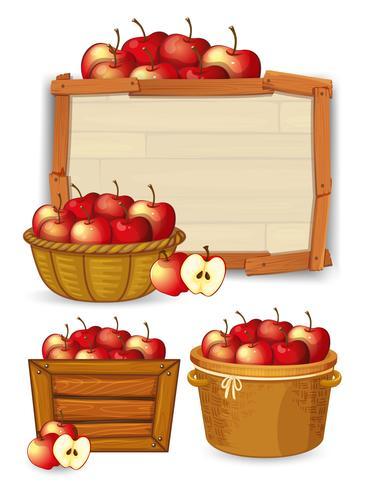 Apple på träbräda vektor