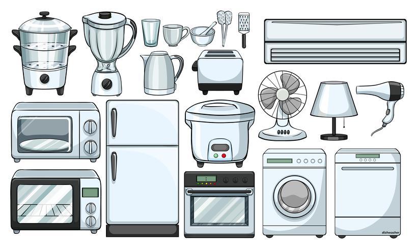 Elektroniska apparater som används i köket vektor