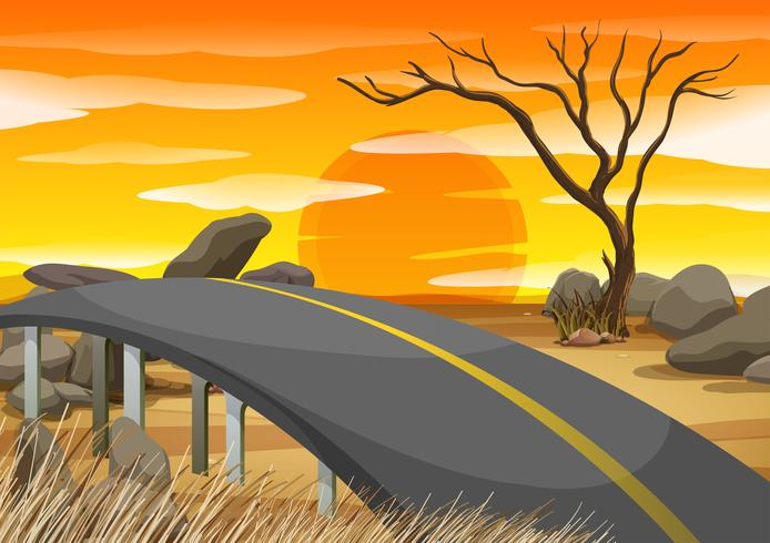 Bro över savannfältet vektor