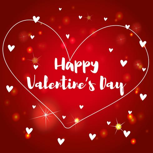 Velentinsk kortmall med hjärtan på röd bakgrund vektor