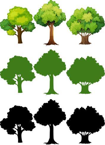 Set med olika träd vektor