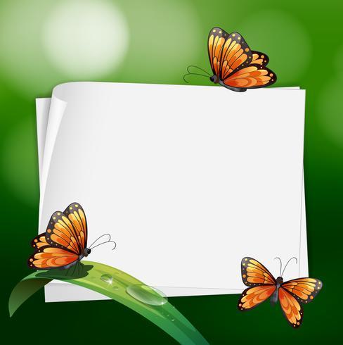 Gränsdesign med fjärilar på löv vektor