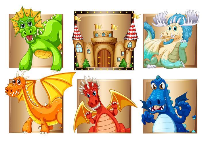 Palace och många drakar vektor