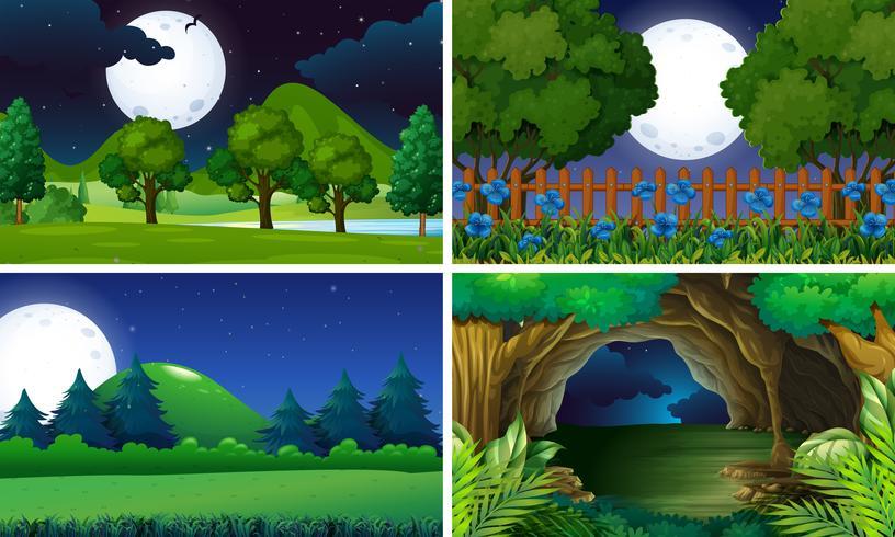 Fyra scener av parken på natten vektor