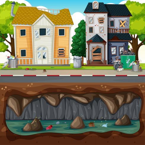 Underjordisk förorening vid smutsigt grannskap vektor