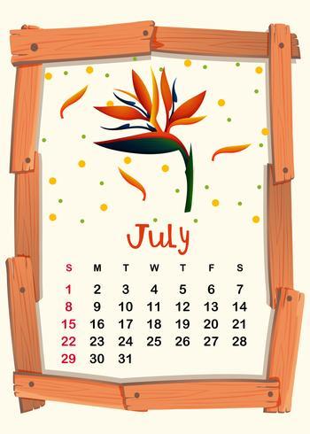 Kalendermall med birdofparadise för juli vektor