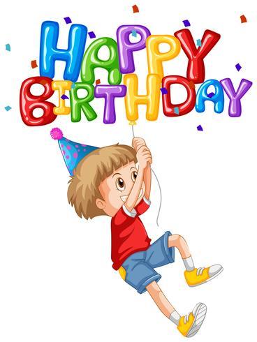 Liten pojke och grattis på födelsedagen ballong vektor