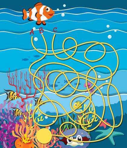 Maze spel med fisk och korallrev vektor