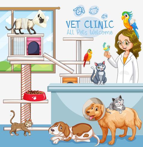 Söt Husdjursklinik Välkomstskylt vektor
