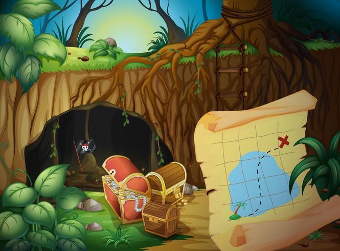 En grotta, en skattkista och en karta vektor