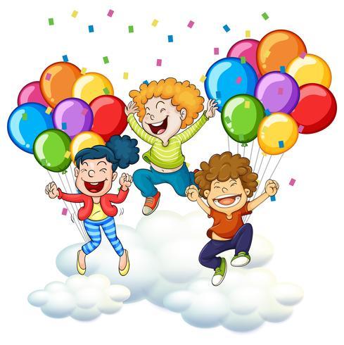 Drei glückliche Kinder mit bunten Ballonen vektor