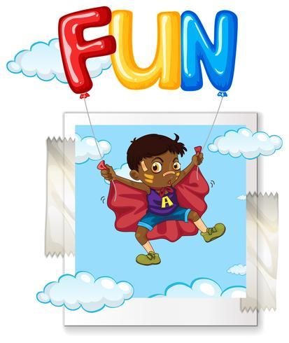 Pojke och ballonger i himmel vektor