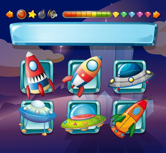 Datorspelsmall med rymdskepp vektor