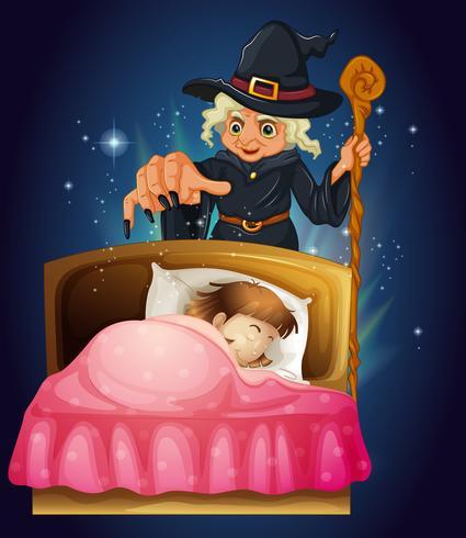 En tjej som sover med en häxa på baksidan vektor