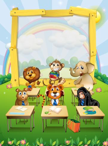 Border design med vilda djur som sitter i klassrummet vektor