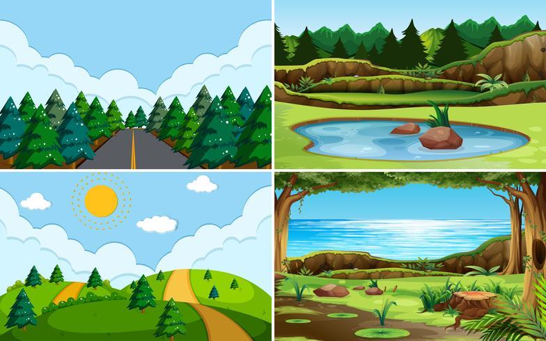 Grön natur utsikt landskap vektor