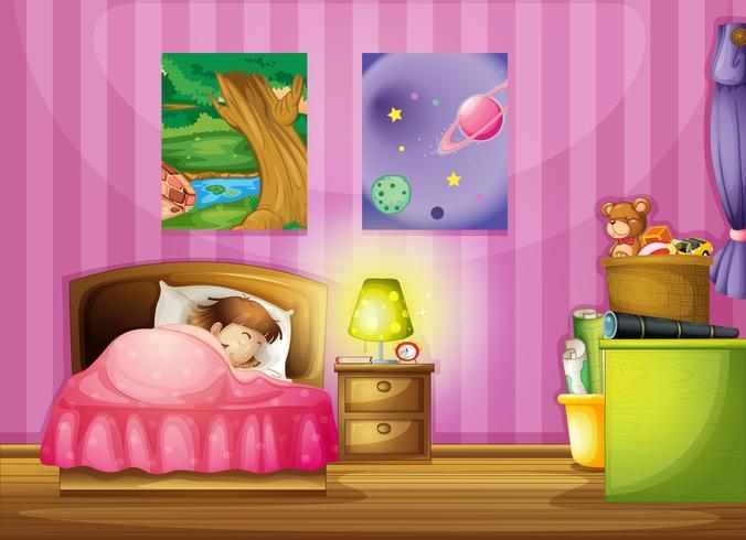en tjej och ett sovrum vektor