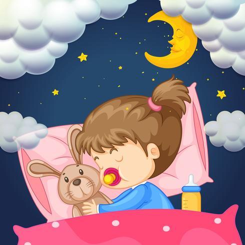 Barnflicka i sängen på natten vektor