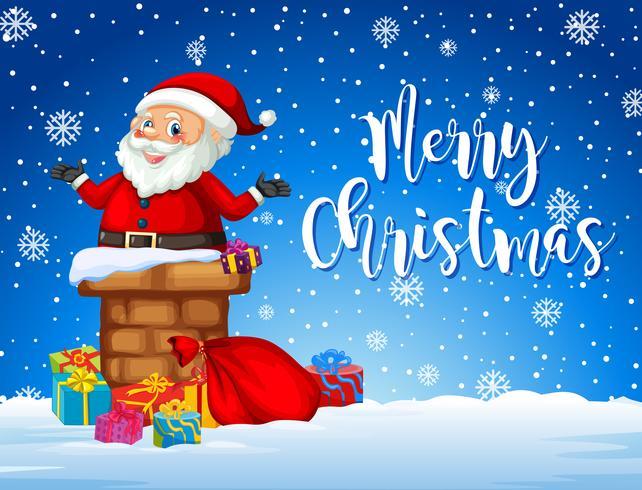 Santa på julkortsmall vektor