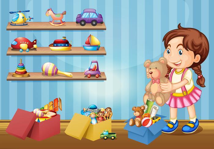 Kleines Mädchen und viele Spielsachen vektor