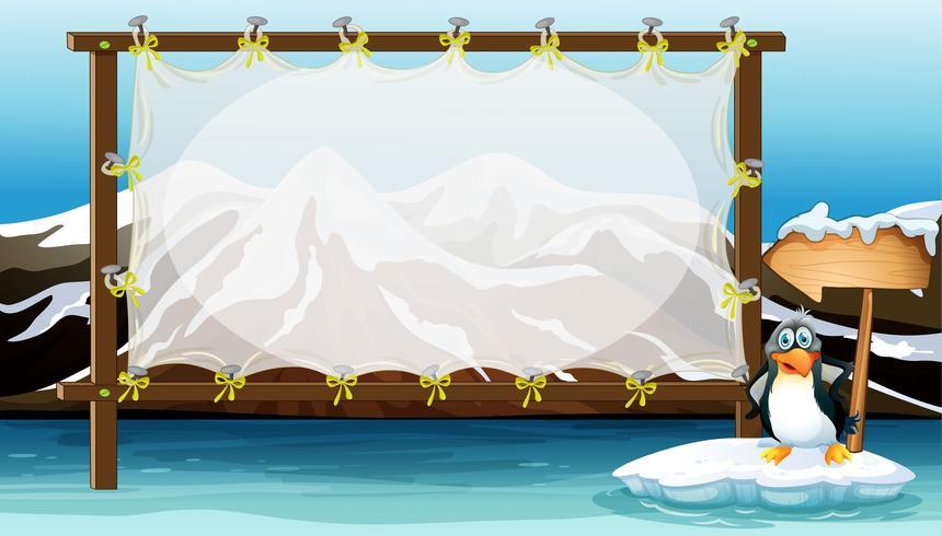 Rahmendesign mit Pinguin auf Eisberg vektor