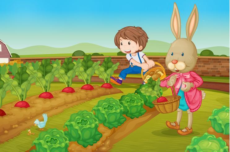 Kanin och pojke i trädgården vektor