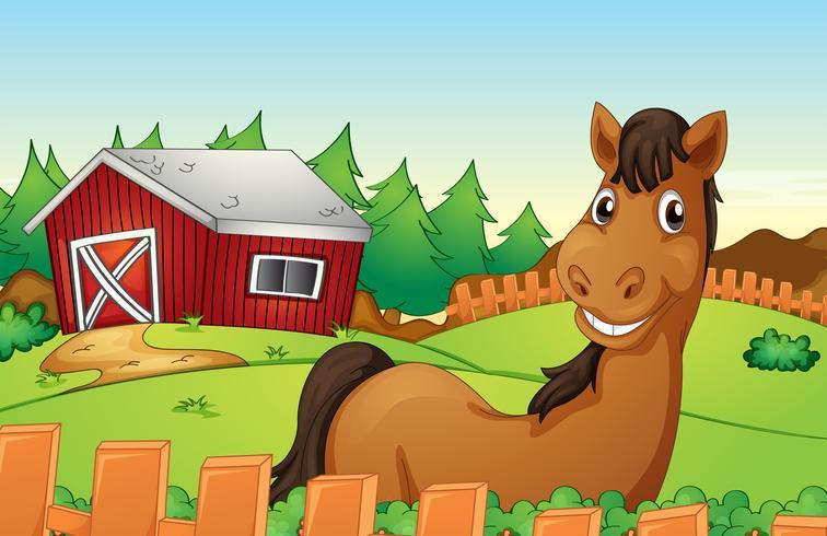 Häst och gård vektor