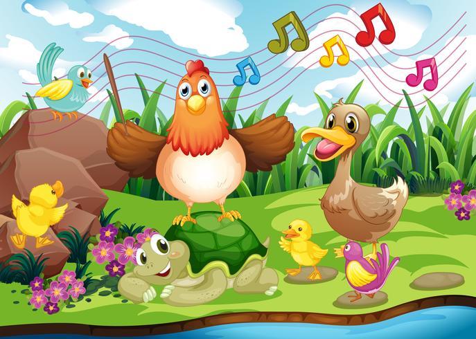 Djur som sjunger vid flodbredden vektor