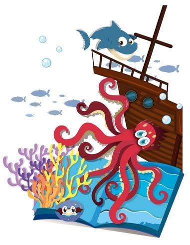 Buch von Unterwasser und Schiffbrüchigen vektor