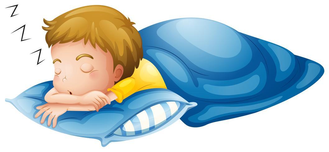 En liten pojke sover vektor