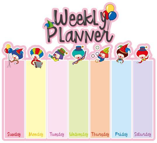 Wöchentliche Planernotizschablone mit glücklichen Clowns vektor