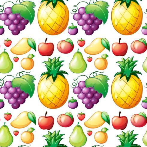 Sömlös olika slags frukter vektor
