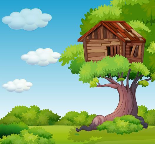 Gammal treehouse på trädet vektor