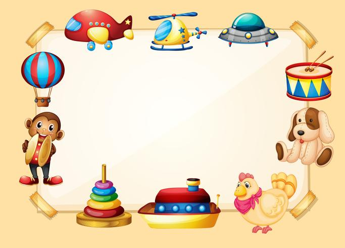 Gränsmall med många leksaker vektor