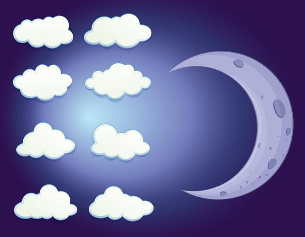 En himmel med moln och en måne vektor