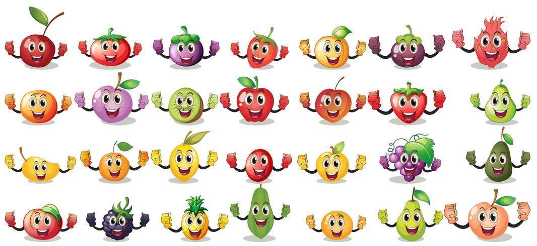 Satser av frukt ansikten vektor