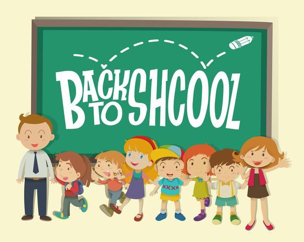 Tillbaka till skolatemat med lärare och studenter vektor