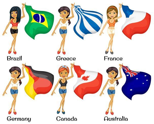 Flickor och flaggor vektor