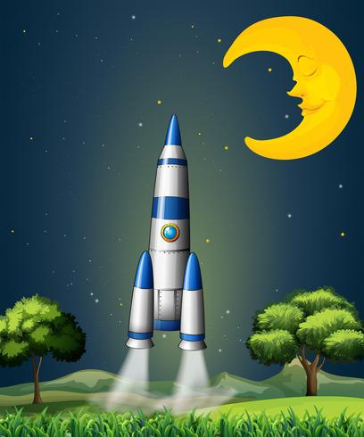 En raket går till himlen med en sovande måne vektor