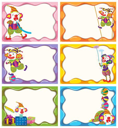 Etikettdesign med glada clowner vektor