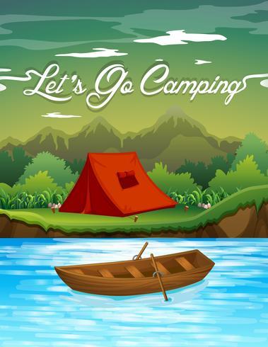 Campingplats med tält och båt vektor